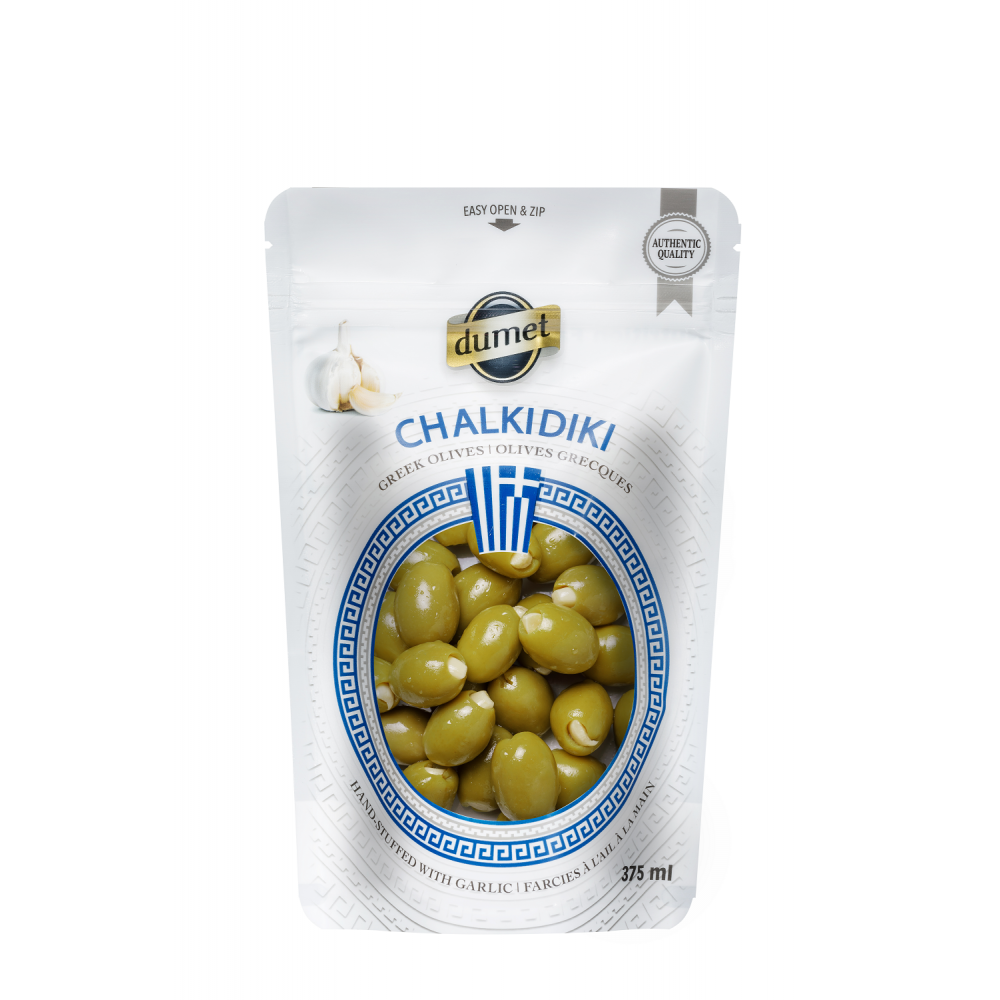 Olives Dumet - Chalkidiki Garlic  (375 ml pouch)